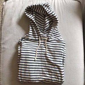 J. crew striped hoodie. Side zip detail.